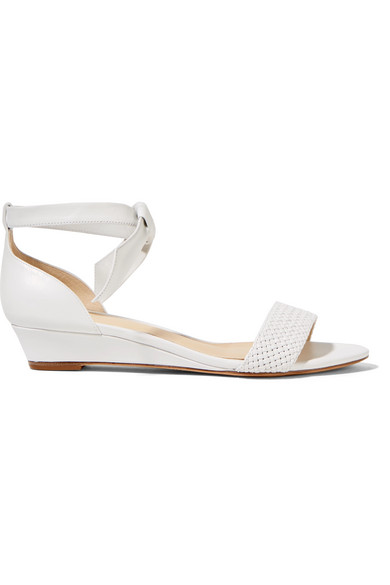 87786e081c3 Alexandre Birman Atenah Bow-Embellished Leather Wedge Sandals In White