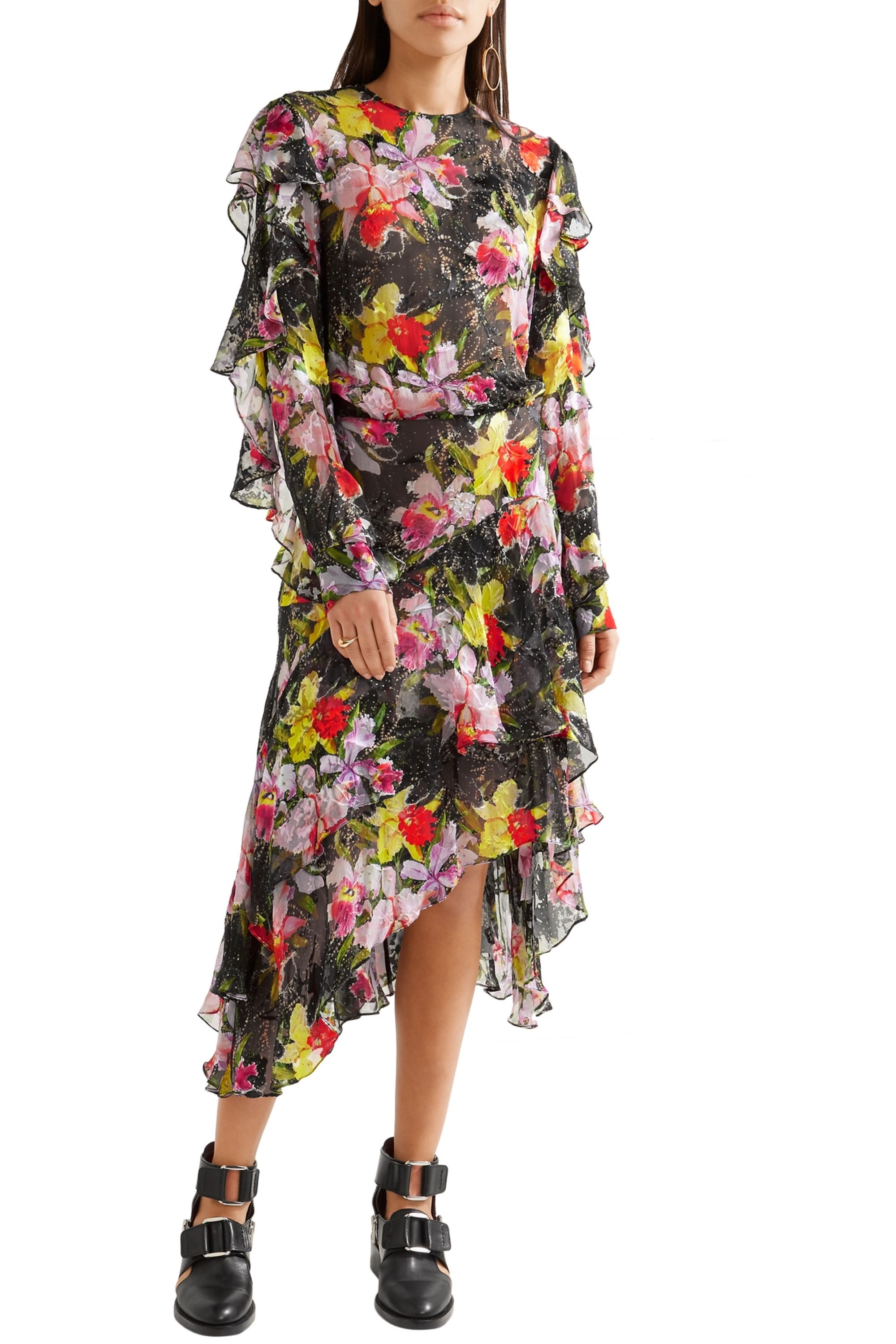 Preen by Thornton Bregazzi Cassidy asymmetric printed devoré silk-chiffon dress