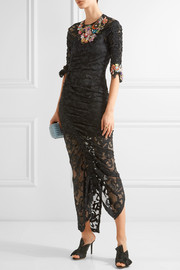 Georgia ruched embellished stretch-lace dress