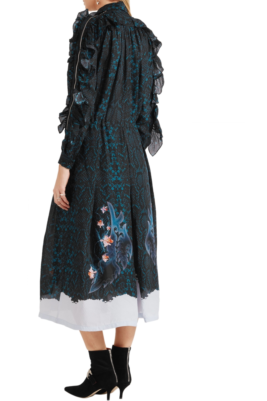 Preen by Thornton Bregazzi Abigal ruffled printed silk-chiffon midi dress