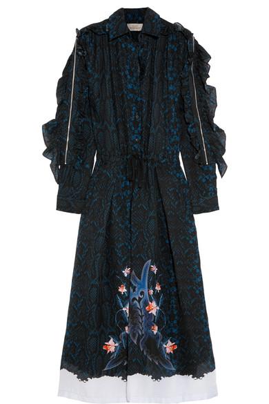 Preen by Thornton Bregazzi - Abigal Ruffled Printed Silk-chiffon Midi Dress - Navy
