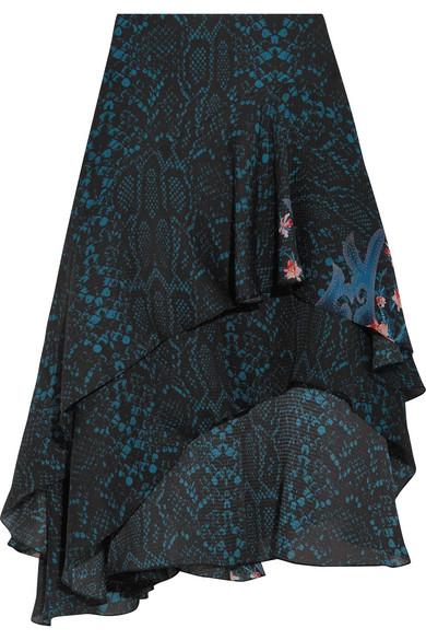 Preen by Thornton Bregazzi - Ambrosse Asymmetric Printed Silk-chiffon Skirt - Midnight blue