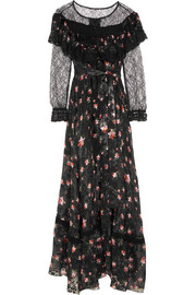 Preen by Thornton Bregazzi Lydia lace-paneled printed devoré silk-blend chiffon gown