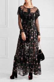 Lydia lace-paneled printed devoré silk-blend chiffon gown