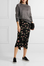Shirley ruched floral-print stretch-jersey midi skirt
