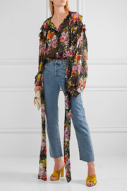 Cora printed devoré silk-blend chiffon top
