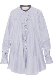Roksanda Hecla ruffle-trimmed striped cotton-poplin dress