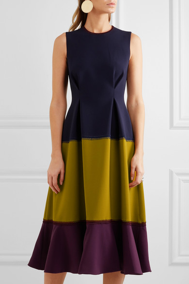 ROKSANDA Ambreen Paneled Stretch-Cady Midi Dress