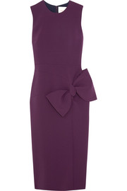Laurana bow-embellished stretch-cady dress