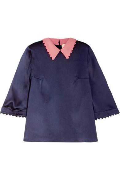 Roksanda - Silk-seersucker Top - Midnight blue