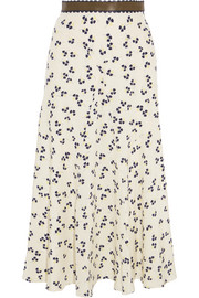 Moraya leather-trimmed printed silk crepe de chine midi skirt