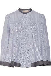 Roksanda Frida ruffle-trimmed striped cotton-poplin blouse