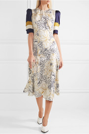 Thalia printed silk-twill dress