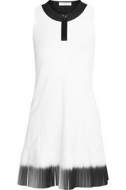 Plissé-paneled stretch-jersey tennis dress