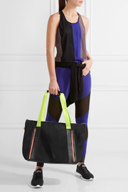 Monreal London Victory leather-trimmed mesh tote