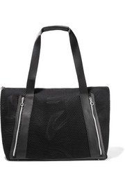 Victory leather-trimmed mesh tote