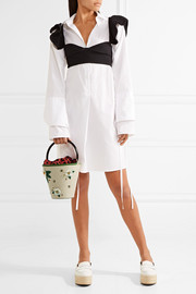Charlotte Olympia Picnic leather-trimmed embellished linen bucket bag