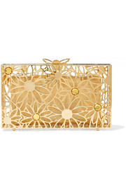 Charlotte Olympia Pandora In Bloom crystal-embellished gold-tone clutch