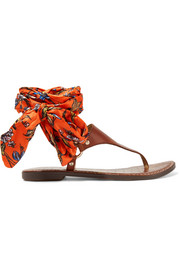 Sam Edelman Giliana leather and printed satin sandals