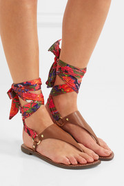 Giliana leather and printed satin sandals