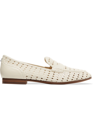 sam edelman female sam edelman leora woven leather loafers ivory