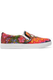 Pixie faux leather-trimmed printed canvas slip-on sneakers