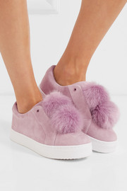Leya faux fur-embellished suede slip-on sneakers