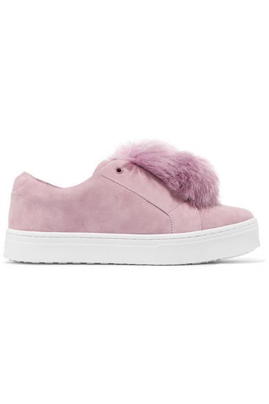 6298cca8f715ee Sam Edelman. Leya faux fur-embellished suede slip-on sneakers