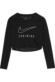 Cropped printed Dri-FIT cotton-blend jersey and mesh sweatshirt