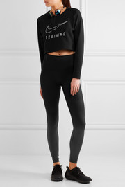 Nike Cropped printed Dri-FIT cotton-blend jersey and mesh sweatshirt