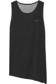 Nike Breathe asymmetric mesh-paneled stretch-jersey tank