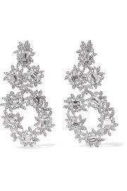 Kenneth Jay Lane Silver-plated crystal clip earrings
