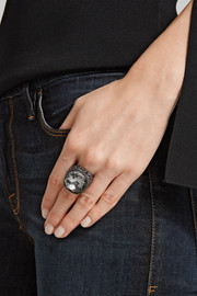 Gunmetal-plated crystal ring