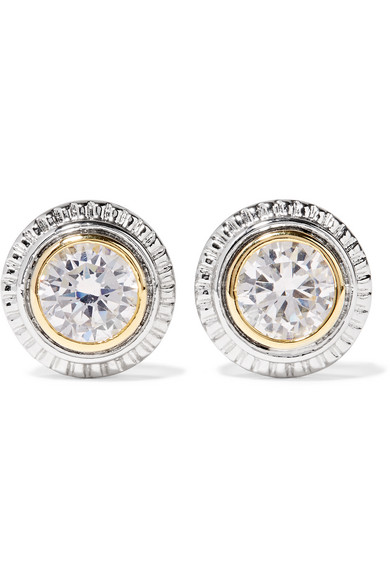 Kenneth Jay Lane Silver And Gold Plated Cubic Zirconia Earrings