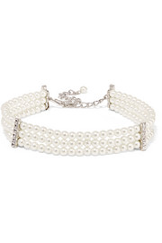 Silver-plated, faux pearl and crystal choker