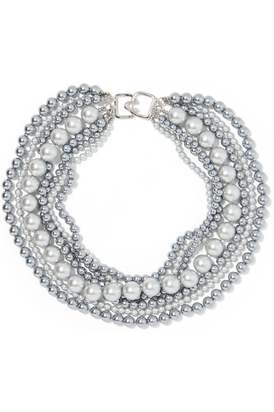 Kenneth Jay Lane - Faux Pearl Necklace - Gunmetal