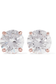 Kenneth Jay Lane Rose gold-plated cubic zirconia earrings