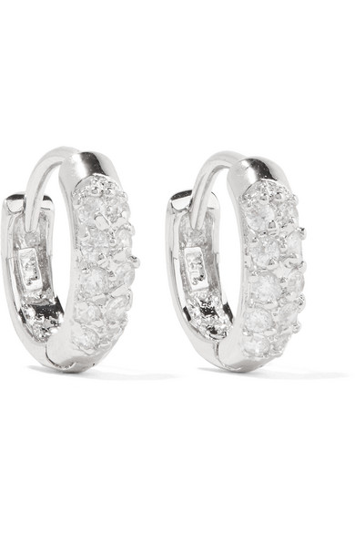 Kenneth Jay Lane Rhodium Plated Cubic Zirconia Hoop Earrings