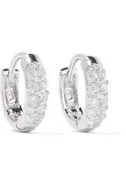 Rhodium-plated cubic zirconia hoop earrings