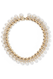 Kenneth Jay Lane Gold-plated, crystal and faux pearl necklace