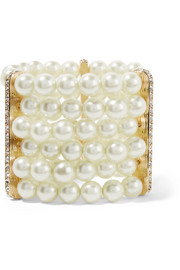 Faux pearl,  crystal and gold-plated bracelet