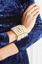 Kenneth Jay Lane Faux pearl,  crystal and gold-plated bracelet
