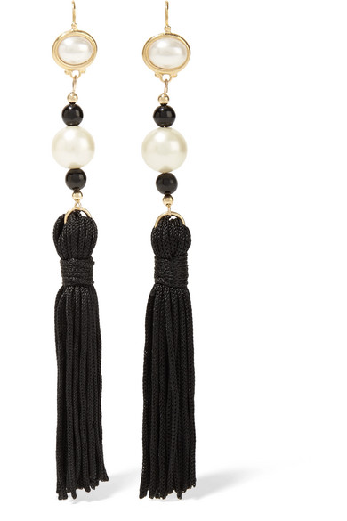 Tasseled silk, gold-plated and faux pearl earrings