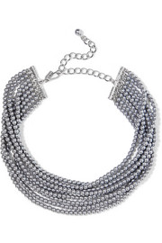 Rhodium-plated faux pearl choker