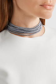 Kenneth Jay Lane Rhodium-plated faux pearl choker