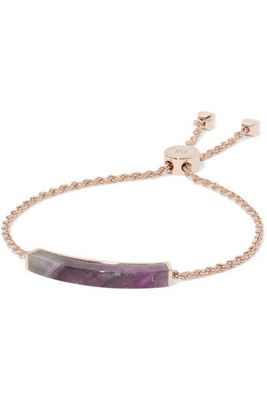 Monica Vinader - Linear Rose Gold-plated Agate Bracelet