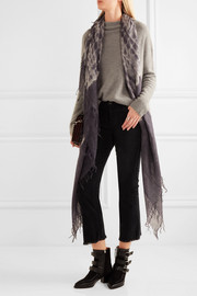 Tie-dyed cashmere and silk-blend scarf