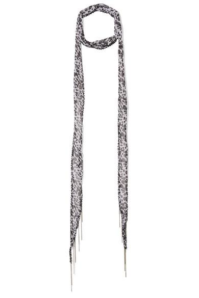 Chan Luu - Embellished Leopard-print Georgette Scarf - Leopard print