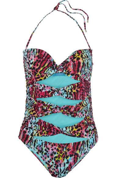 Matthew Williamson - Akita Leopard-print Cutout Swimsuit - Blue