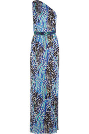 Matthew Williamson Akita one-shoulder belted printed silk-chiffon gown